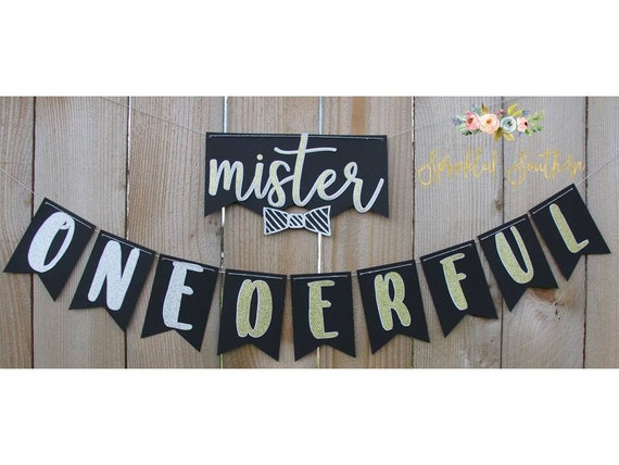 Mister or Mr. ONEderful Banner for first boy birthday in black, white, gold, and silver