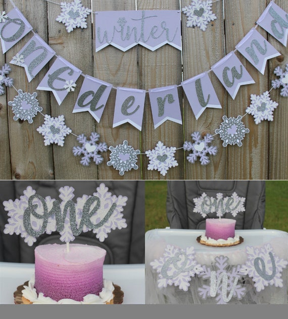 Winter ONEderland Theme First Birthday Smash Cake Package- Banner, Snowflake Garland, Cake Topper, & High Chair Banner