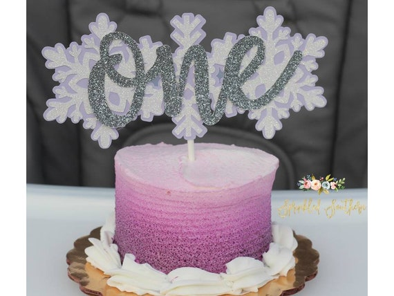 Winter ONEderland Snowflake Theme Smash Cake Topper for Girl or Boy First Birthday