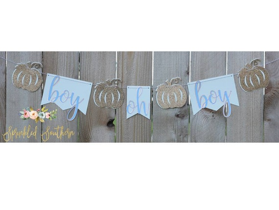 Boy oh Boy Little Pumpkin Theme Blue Banner for Baby Shower