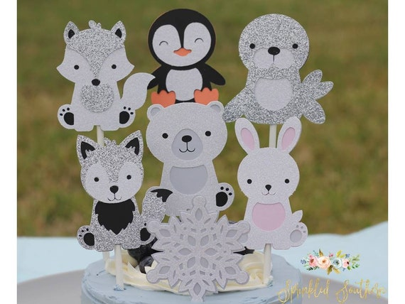 Winter ONEderland Cupcake Toppers, Penguin Toppers, Polar Bear Toppers, Fox Toppers, Bunny Toppers