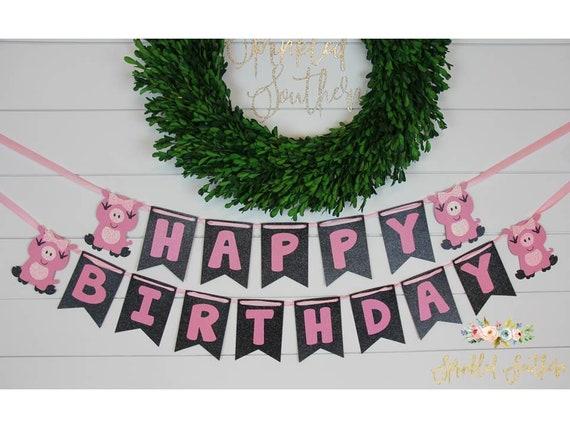 Pig Theme Happy Birthday Banner, Girl Pig Birthday Decor, Pig Birthday Banner