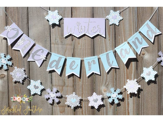 Purple and Blue Winter ONEderland First Birthday Snowflake Banner and Garland
