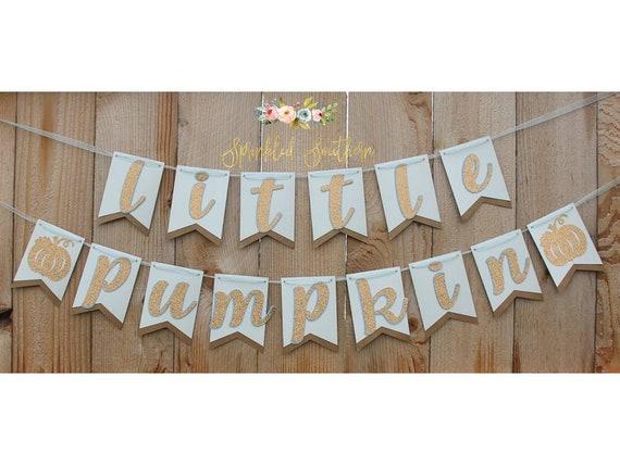 Little Pumpkin BLUE Banner for Baby Shower or First Birthday