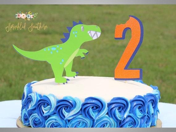 Friendly Dinosaur T-Rex Birthday Cake topper, Dinosaur Birthday Smash Cake