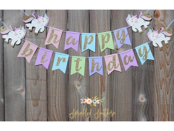 Rainbow Glitter Unicorn Pony Happy Birthday Banner