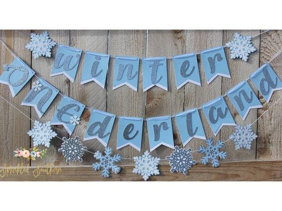 Snowflake Garland in Blue Silver Gray and White Winter Onederland or Wonderland Boy Theme First Birthday