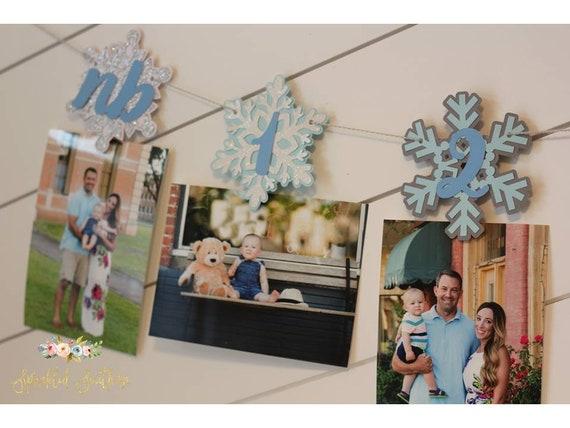 Snowflake First Birthday Photo Garland, Winter Wonderland Newborn to One picture banner