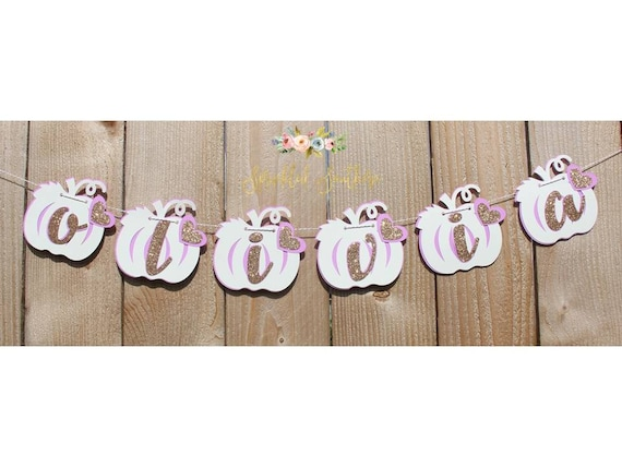 Little Pumpkin Girl Theme Custom Name Banner for Baby Shower or First Birthday in Purple and Rose gold Glitter