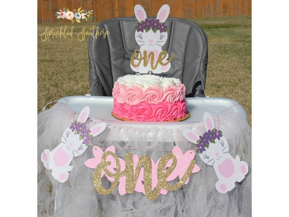 Some Bunny is ONE High Chair Banner,  First Birthday Bunny High Chair Banner, Pink & Gold Bunny Banner