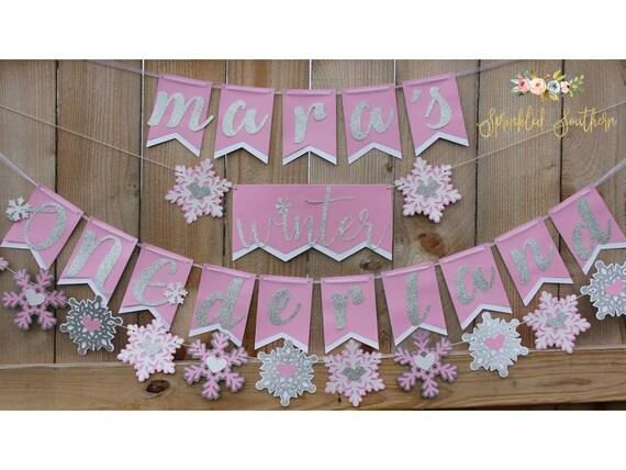 Winter ONEderland First Birthday Girl or Boy Custom Name Winter Theme Banner