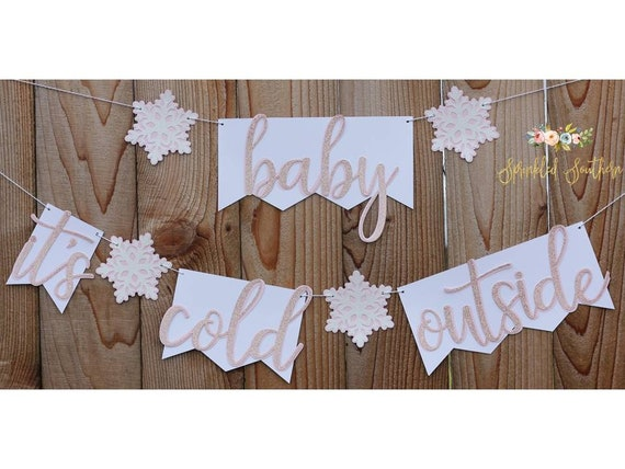 Winter Baby Shower Theme Baby Its Cold Outside Banner for Baby Girl Shower