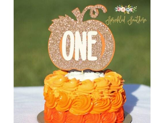 First Birthday Pumpkin Cake Topper, Little Pumpkin Cake Topper
