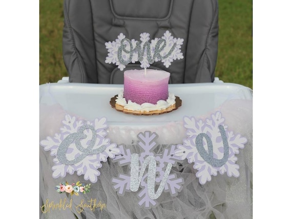 Winter ONEderland Theme Snowflake High Chair Banner for First Birthday for Girl or Boy