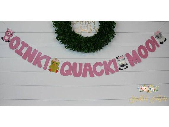 Oink Quack Moo Girl Banner, Farm Animal Girl Birthday Banner, Barnyard Animals Girl Birthday Banner, Farm Birthday Decorations