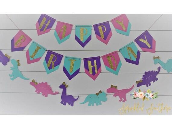 Girl Dinosaur Happy Birthday Banner, Girl Dinosaur First Birthday Sign