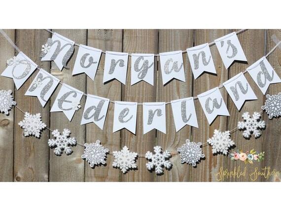 Winter Wonderland or ONEderland Silver and White First Birthday Banner Decoration with Snowflake Garland
