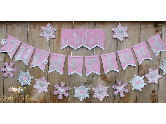 Winter ONEderland or Wonderland Winter Theme First Birthday Banner for Girl or Boy