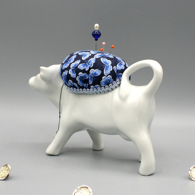 Crafter Gift Idea Blue Butterfly Fabric Home Decor Sewing Collectible Sewist Needleworker Quilter Cow Creamer Pincushion Pin Cushion