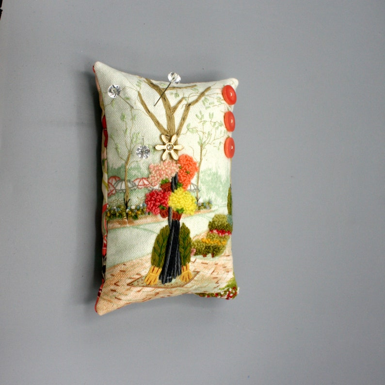 Pincushion Flowers on Sidewalk Scene Pin Cushion Colorful Hand Embroidered Pinkeep 6.5x4.4x2 Sewing Collectible Gift for Her Quilter Sewist