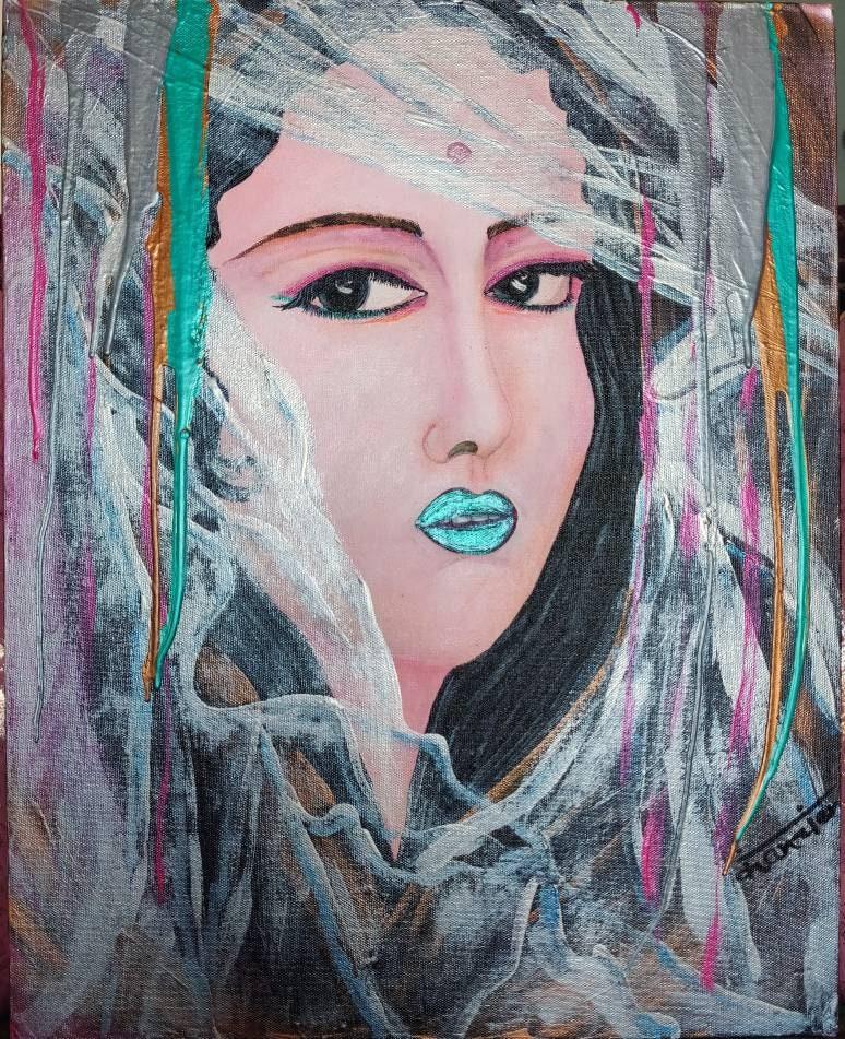 REVELATION   mystery, glitter, single piece, original Acrylic painting,  handmade, 40cmx50cm, canvas painting, mysterious girl