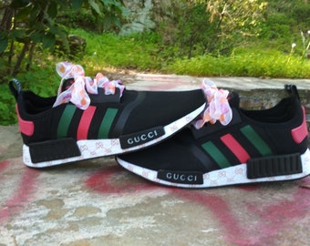 e7de92e79f5 adidas nmd casual shoes gucci style print mens black color athletic run  sneakers summer style