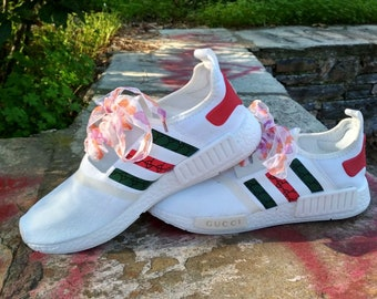3731a7dabe74f Adidas NMD Mens Casual Shoes White Color Customized in Gucci style Run  Sneakers Print and Custom Laces Custom Adidas