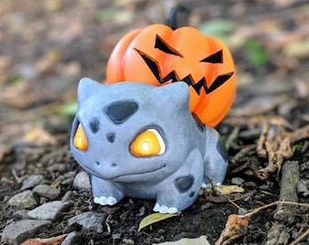 Pumpkin Spooky Halloween Bulbasaur - Pokemon LED tea light holder jack-o'-lantern pumpkasaur