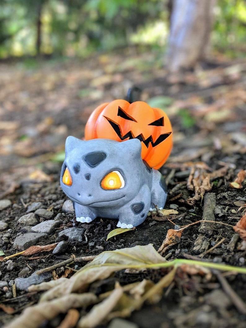 Pumpkin Spooky Halloween Bulbasaur  Pokemon LED tea light image 0
