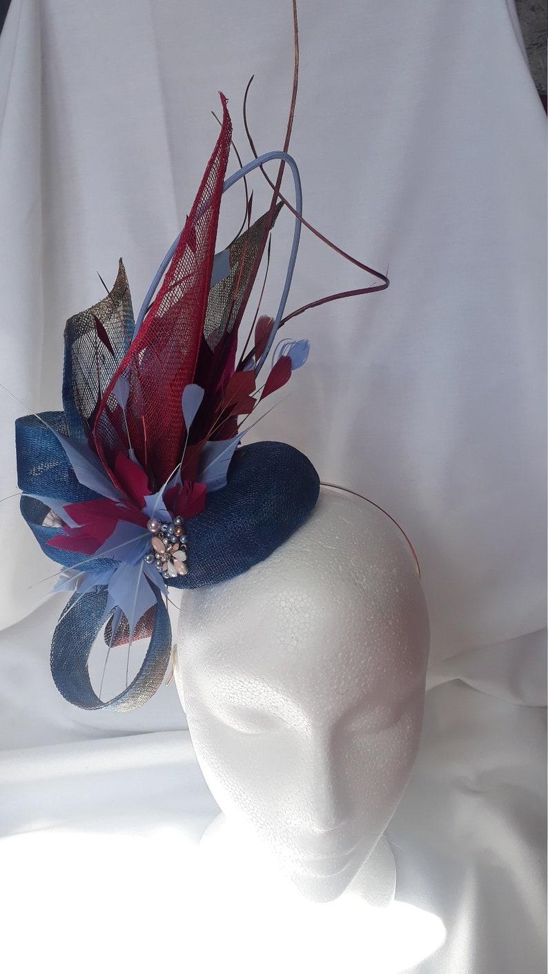 blue and crimson fascinator