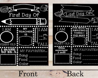 First Day Of School Chalkboard Reusable Etsy
