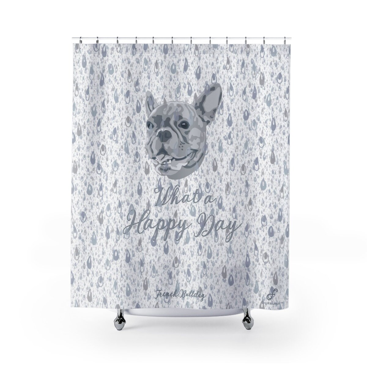 Grey French Bulldog Shower Curtain Water Drops What A