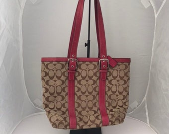 49cc60af8280 ... promo code for coach hampton signature f12645 tote with adjustable pink  leather straps and leather trim