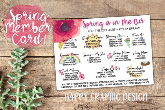 Spring Essential Oil Card, Spring Oil Diffuser Recipes, Spring Cooking,  5x7, Instant Download, Young Living