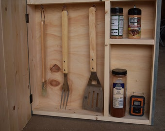 Beau BBQ Essentials, Outdoor Grill Cabinet, Grill Tool Storage, Smoker Cabinet Husband,  Father, Grandpa Birthday Gift