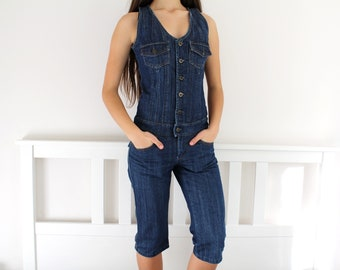 e2b45963f6bd Vintage Denim Overalls   Knee Length Overalls   Sexy Sleeveless Jeans  Jumpsuit  Denim Romper   Women s Blue Playsuit   Button Front Overalls