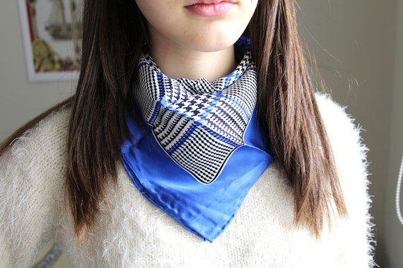 Vintage Codello Scarf, Silk Scarf, Blue White Scar