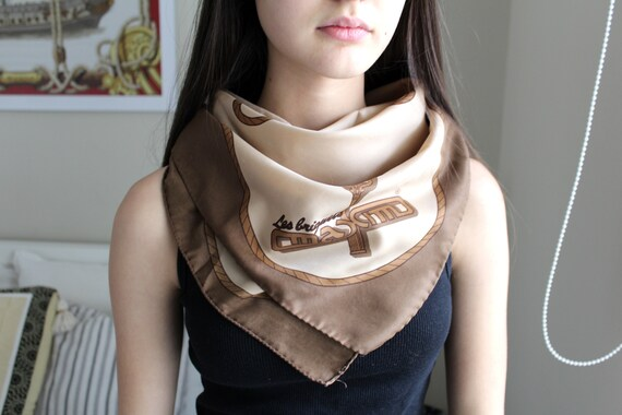 Vintage Brown Scarf, Neck Scarf, Women's Scarf, Me