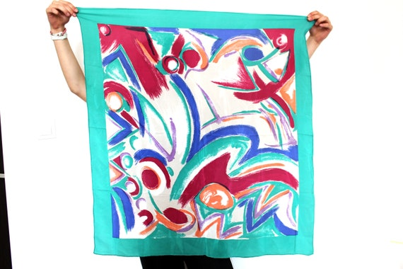 Colorful Vintage Silk Scarf, Abstract Scarf, Hand