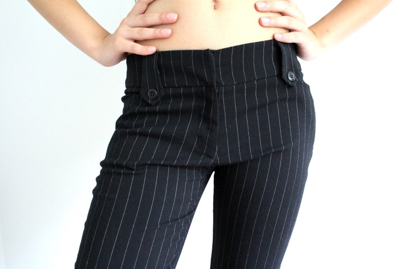 6f1eb8ebed9d6 90's Black Pants / Vintage Stripe Pants / Made in USA / Low Waist Flared  Pants/ Formal Pants Trousers / Tight Pants / Women's Pants/ Size S