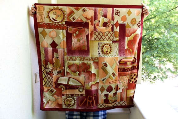 Vintage Abstract Scarf, Fruit Print Scarf, Sun, Ca