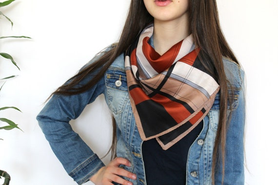 Vintage Checkered Scarf, Square Scarf, Summer Plai
