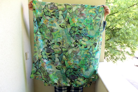 Vintage Silk Scarf, Butterfly Print Scarf, Multico