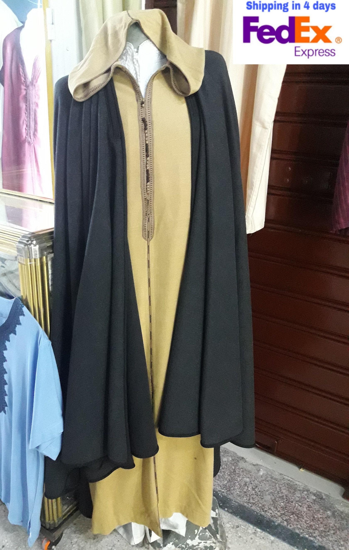 Men Winter Jelaba Jellaba Moroccan Caftan Kaftan Hooded Cotton Robe LG-XL Navy