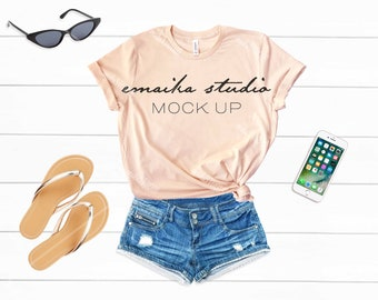Download Free Peach Tshirt Mock Up, Peach Shirt Mockup, Flat Lay Shirt Mockup, T-shirt Mockups On Wood, Realistic Mockups, 3001 Peach, Bella Canvas Mockup PSD Template
