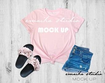 Download Free Bella Canvas 3001 Pink Tshirt Mock up   Bella Canvas Mockup   Pink T-Shirt Mockup   Flat Lay Pink Shirt Mockup   Styled Tshirt Mock up PSD Template