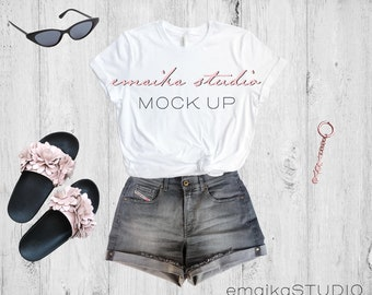 Download Free Bella Canvas 3001 White Tshirt Mock Up | Bella Canvas Mockup | White Tee Mockup | Bella Canvas White T-shirt Mock Up | Flat Lay Tee Mockup PSD Template