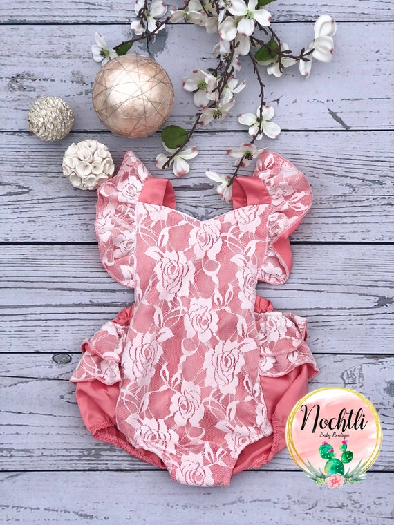 2690c780750f baby romper pink baby romper portrait outfit baby girl
