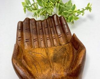 Large Wood Carved Praying Hand Shape Bowl
