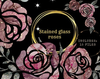 Rose clipart bundle, stained glass-alcohol ink png elements, commercial use
